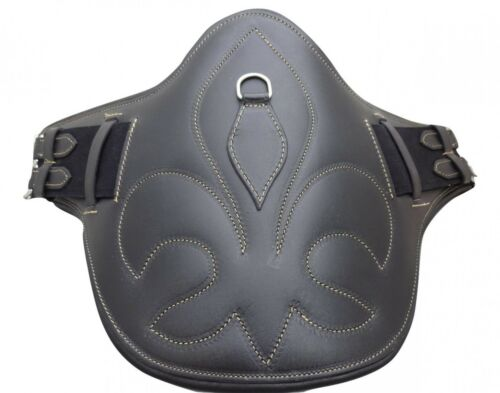 Black Brown Chestnut Real Leather Stud Girth Gold Stitch Handmade Fleur De Lis