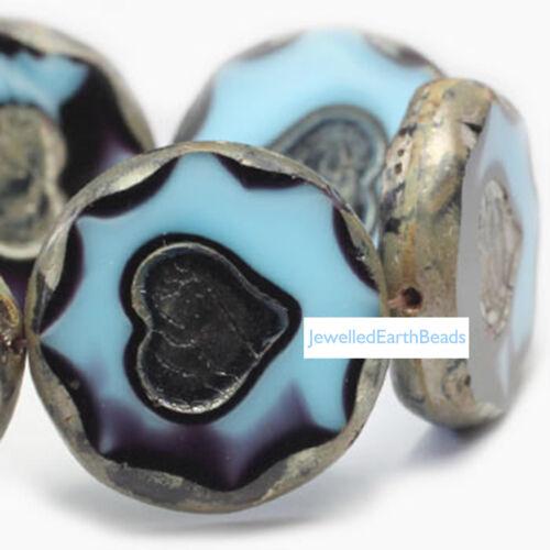 CZ2 Czech Glass Beads Blue Disc 20mm PK6 Premium Range *UK  SHOP*