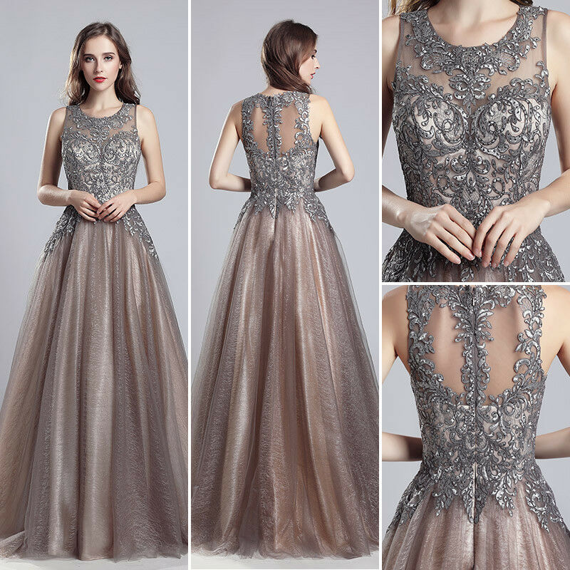 Mocha Applqiue Formal Evening Ball Gowns damen Long Prom Pageant Dress Größe 6-20