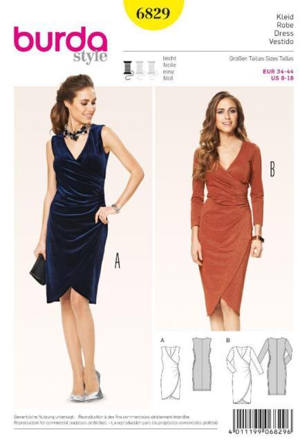 Burda Nähmuster Damen enge Montage Kleid 8 - 18 6829 | eBay