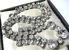Vintage Jewellery Art Deco 1930's Clear Glass Crystal Rhinestone Drop NECKLACE