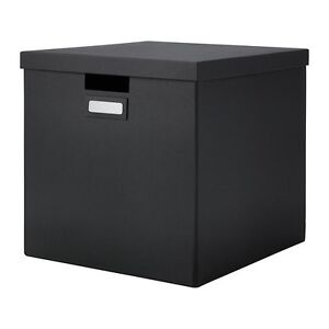 ikea tjena kasten mit deckel in schwarz 32x35x32cm aufbewahrung schachtel box. Black Bedroom Furniture Sets. Home Design Ideas