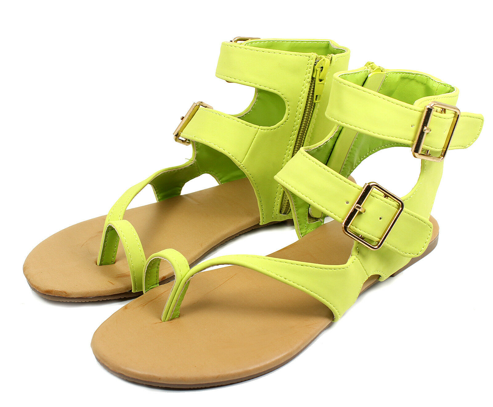 Nadya-08 Buckles Zipper Flats Gladiator Lime Sandals Party Women's Shoes Lime Gladiator 7.5 6345aa