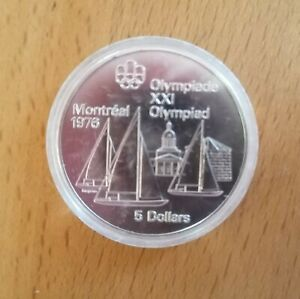 Silver Canada 1973 5 Dollars Olympic Games Montreal 1976 Sailboats Queen Coin