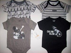 Calvin-Klein-Bodysuits-4pc-Set-Size-0-3-Mos-Guitar-Drums-Gray-Black-White-NWT