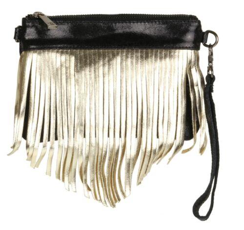 Italian Fringe Metallic Genuine Suede Leather Vera Pelle Clutch Bag Evening