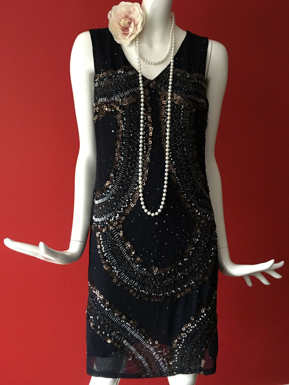 NEXT Beaded Navy Sequins Flapper Gatsby 1920s Charleston Party Dress Size 8
