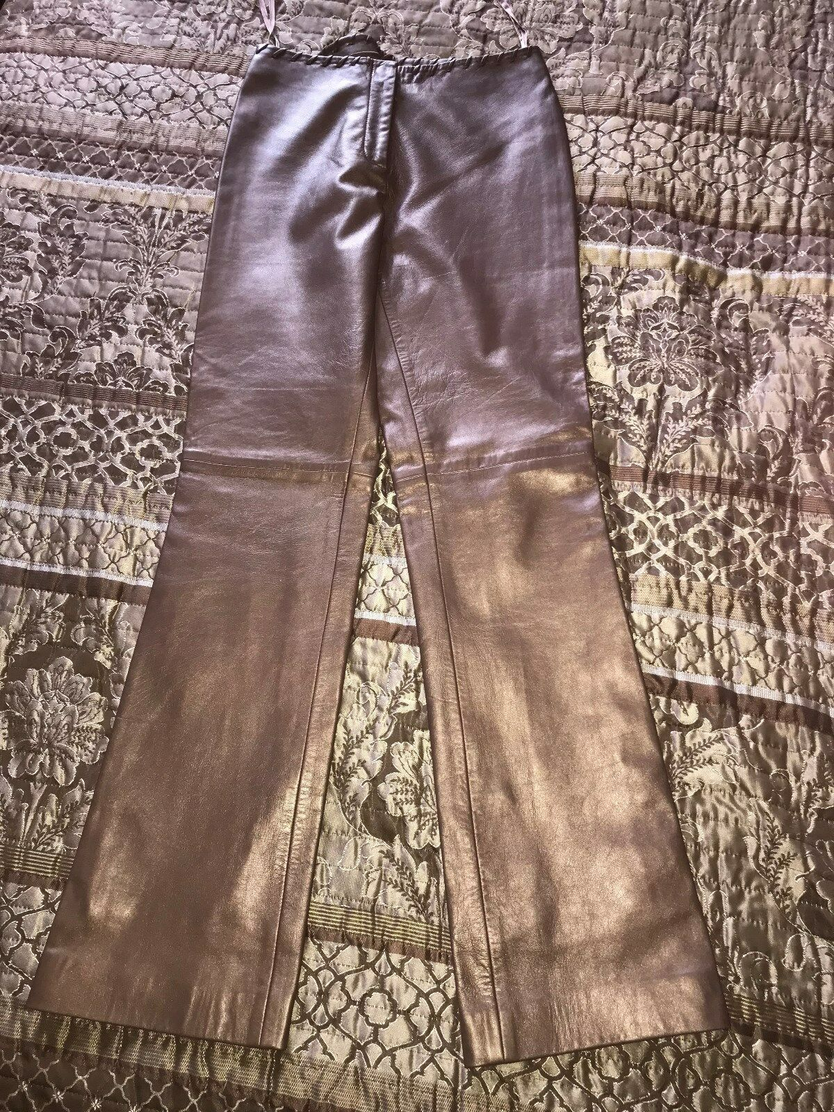 Cache Womens Soft Bronze Brown Leather Pants Size 2 Inseam 31