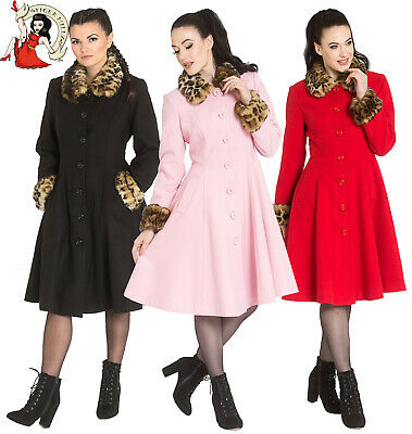 HELL BUNNY OLIVIA COAT vintage style BOW RED BLACK XS-4XL