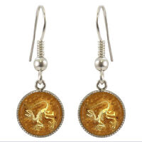 Dinosaur Fossil Silver Plated Dangle Earrings Gift Boxed Dino Ancient Paleo Bnib
