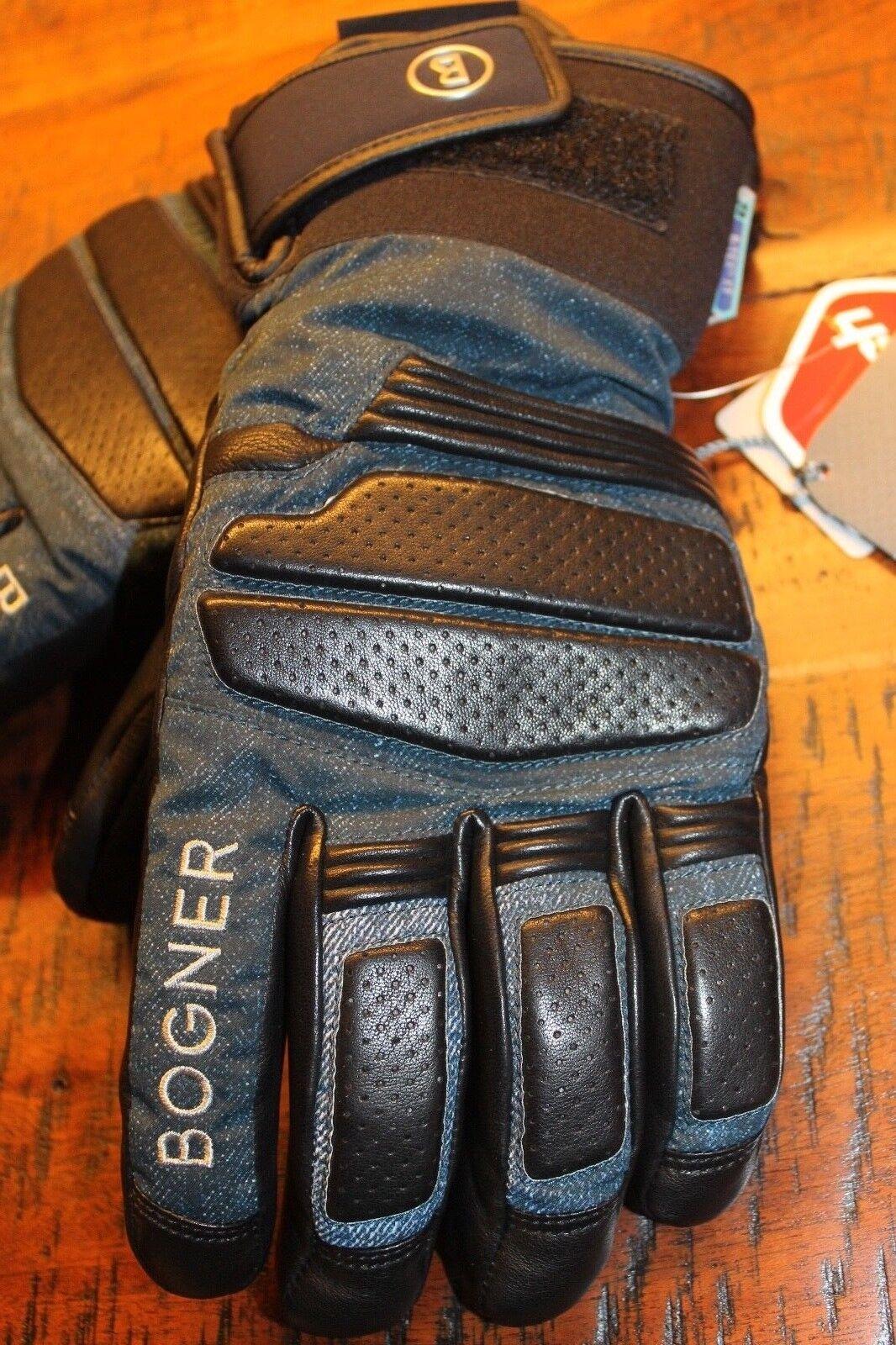 Bogner Agon Leder Handschuhe Jeans Blau Schwarz Größe 8 5 5 5 M Neu mit Etikett 10635e