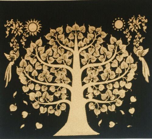 Bodhi Silk Screen Picture Wall Decor Red Thai Art Print Poster Paint Buddha Tree