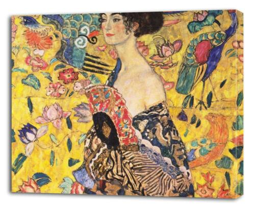 GUSTAV KLIMT Lady With Fan CANVAS PRINT Wall Decor Art Painting Giclee ALL SIZES