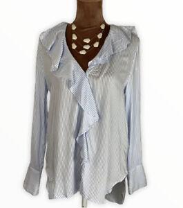 Zara-Ruffle-Strapy-Boho-Elegant-Button-Up-Shirt-Blouse-Size-M