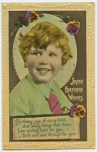 Joyus-Birthday-Wishes-Boy-amp-Flowers-EMBOSSED-England-PC