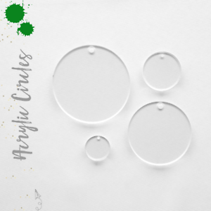 """SELECT SIZE CLEAR ACRYLIC CIRCLE BLANK WITH HOLE 1//16/"""" THICK- PACK 25-50-100"""
