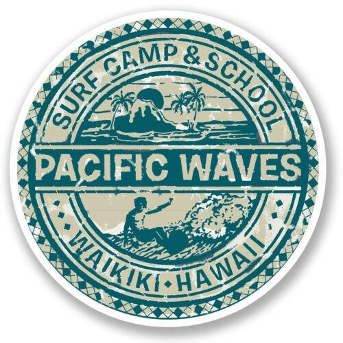 2 x Hawaii Surf Camp Vinyl Sticker Laptop Travel Luggage Car #5512