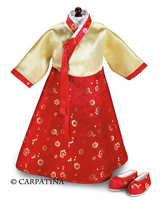 """Doll Clothes 18/"""" Historical Dress Red Floral Made To Fit American Girl Dolls"""