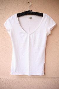 Weisses-Basic-Shirt-mit-V-Ausschnitt-von-Esprit-Groesse-XS