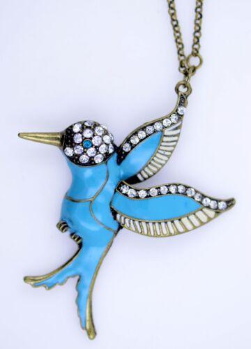 Art-Deco-Stil blau Emaille Kolibri Vogel Halskette mit glitzernden Kristall