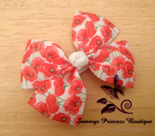 GIRLS VINTAGE RED POPPY FLORAL FLOWER BOUTIQUE RIBBON HAIR BOW CLIP GRIP SLIDE