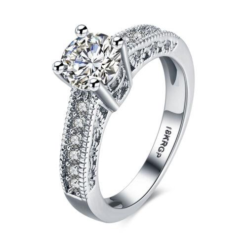 Femmes 18k Blanc Plaqué Or Fiançailles Mariage Bijoux Zircon Ring R822