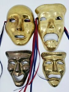 Vintage-Comedy-Tragedy-Brass-Masks-Lot-of-4-Wall-Hangers-Mounts-Happy-Sad-Faces