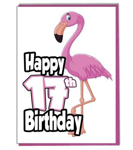 Pink Flamingo 17th Birthday Card Friend Teenager Grandaughter Daughter