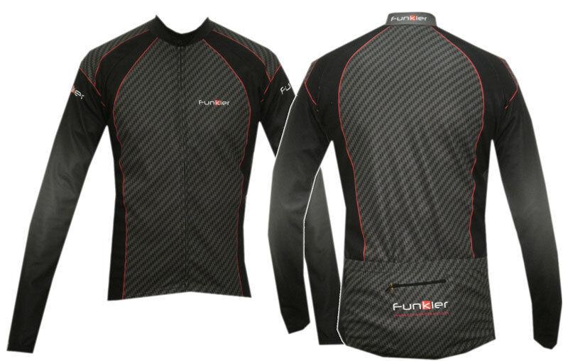 Funkier Long Sleeve Cycling  Jersey   Top - Carbon Effect J608  best sale
