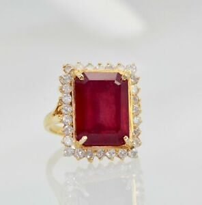 2CT-Emerald-Cut-Red-Ruby-amp-Diamond-Engagement-Ring-In-14K-Yellow-Gold-Over