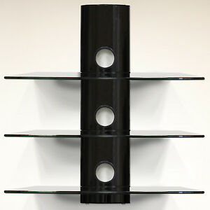 hartleys triple floating black glass bracket for xbox  ps4 glass wall mounted shelving for bathrooms floating glass shelves wall mount