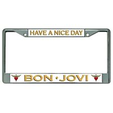 have nice day bon jovi music band logo chrome license plate frame made in usa