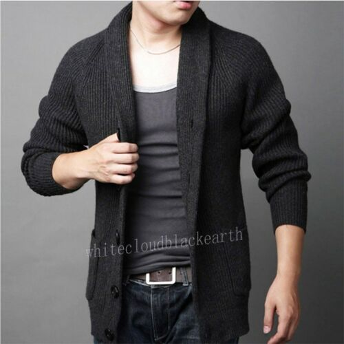 risvolto maglia Coat cardigan Top Blend maglione Winter addensato New Mens lana in Warm wq0xtP
