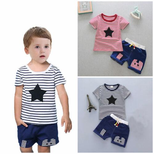2pcs Kids baby boys summer clothes boys cotton Tee+short pants outfits set STAR