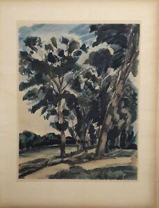 DUNOYER-DE-SEGONZAC-LES-ARBRES-POCHOIR-JACOMET-1930-SIGNE