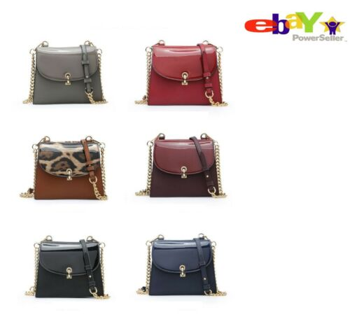 New Women/'s Girls Elegant Patent Shoulder Bag//Cross Body Bag With Snap Closing