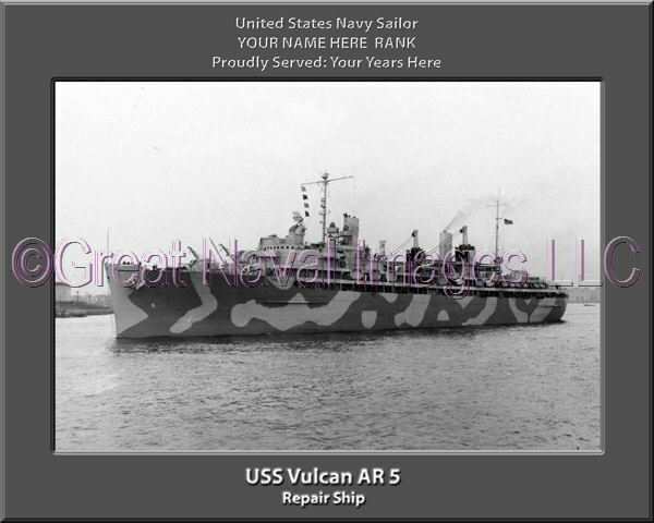 USS Vulcan AR 5 Personalized Canvas Ship Photo 2 Print Navy Veteran Gift