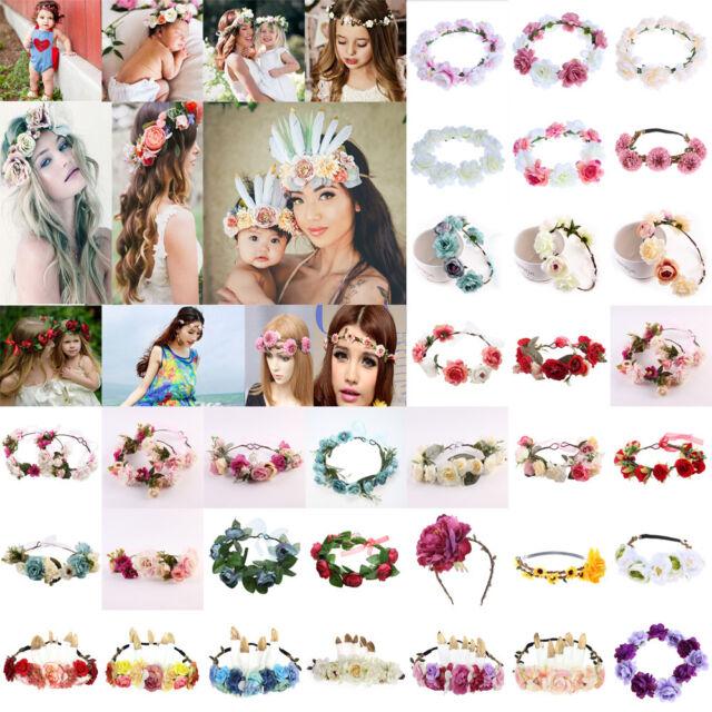 Blumen Haarband Blumenmuster Krone Stirnband Kopfschmuck Mädchen Party Braut Ehe