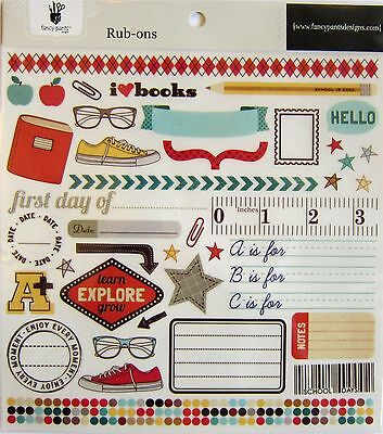 """FANCY PANTS   large 8 x 8 ( """"Off to School"""" )   RUB-ONS  (Save 65%)"""