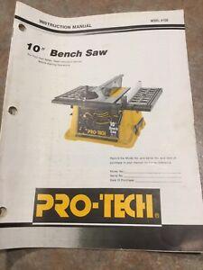 Sierra De Bench Pro Tech 10 Manual Modelo 4106 Ebay