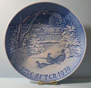 Bing-amp-Grondahl-1970-Plate-034-Pheasants-in-the-snow-at-Christmas-034-w-Box-Denmark