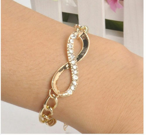 Gold Plated Simple Elegant Sexy Clear Rhinestone Chain Bracelet Infinity Charms