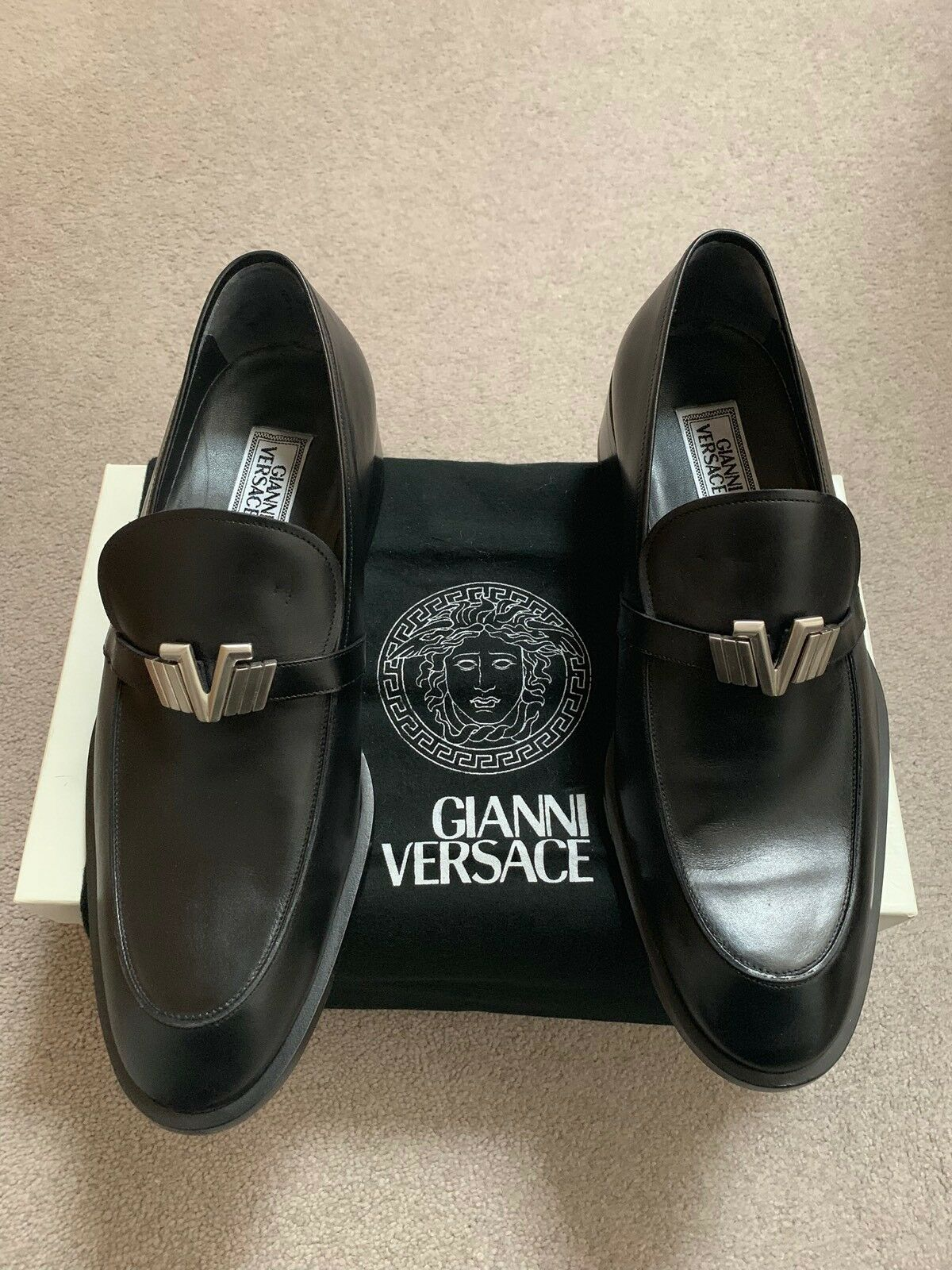 Scarpe da uomo Gianni Versace misura 8 Regno Unito Vintage