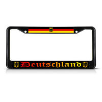 Deutschland, With German Flag With Seal Metal Black License Plate Frame Tag