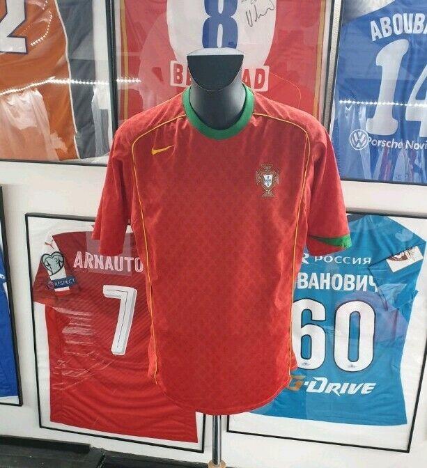 Maglia Maglia Camisa Maglia Vintage Portogallo Figo Ronaldo 2004 Worn Indossato