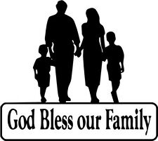 """God Bless Our Family Symbolic Decal Sticker Car Truck Window- 6"""" Wide White Colo"""
