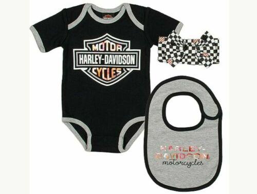 """Harley-Davidson /""""Baby Set/"""" SGI-2501025 3er Set Mädchen 0-9 Monate Body Schwarz"""