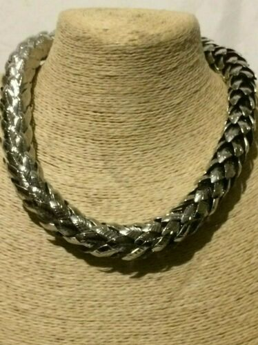 Womens Statement Chunky Thick Big Large Silver Metal Collar Necklace  Retro