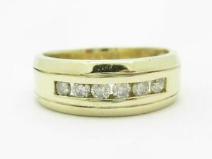 14k-Yellow-Gold-amp-Diamonds-Channel-Set-Design-Round-Stone-Wide-Band-Ring-Size-13