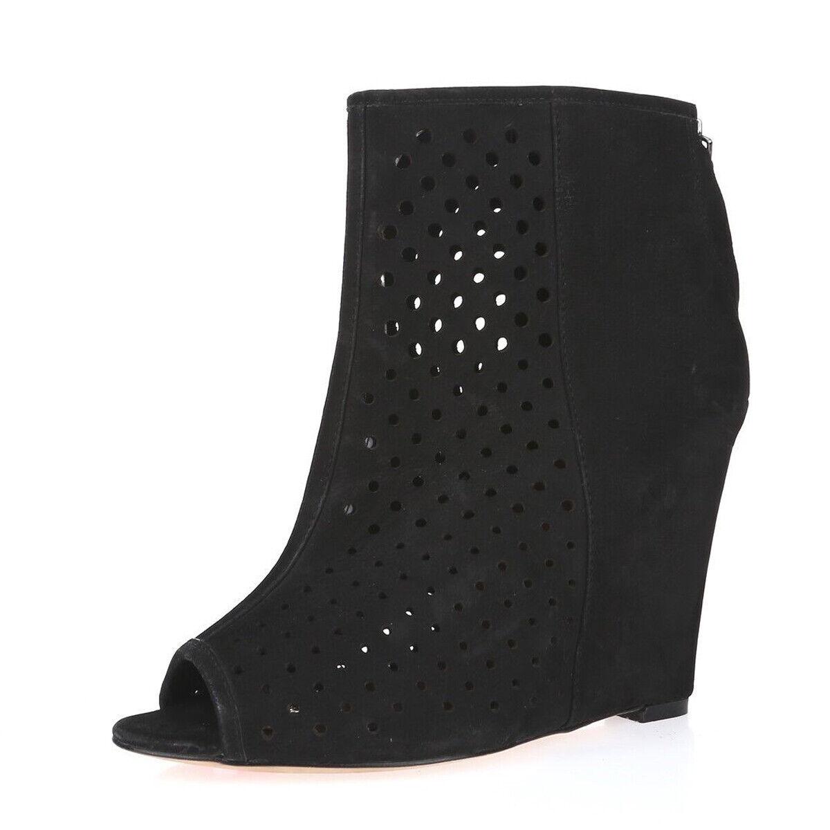 REBECCA MINKOFF Women's Sienna Black Perforated Wedge Booties Sz 8  295 NIB